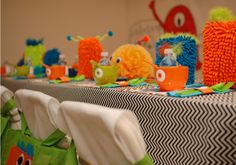 Little Monster Birthday Party — Celebrations at Home- the little car wash mitts with eyes!!! cute!