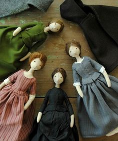 :: Crafty :: Cloth Doll :: 2 :: Here's a pic of all four of the dolls that I've been working on these last few weeks. This little group will be listed in my online store from 10am (Sydney time), on Tuesday.