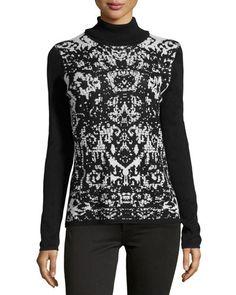 Angela Printed Turtleneck Knit Top, Black/Ivory