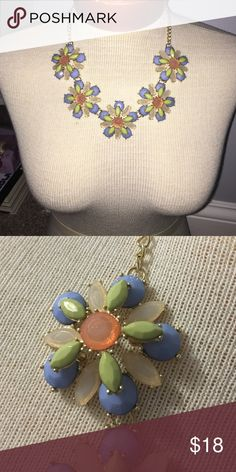 Floral necklace Gold chain. Green orange and blue flowers. 5 flowers on necklace Jewelry Necklaces
