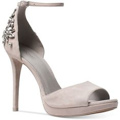 Michael Michael Kors Patti Dress Sandals ($165) ❤ liked on Polyvore featuring shoes, sandals, pearl grey, strappy platform sandals, platform dress sandals, dress sandals, strap sandals and metallic platform shoes