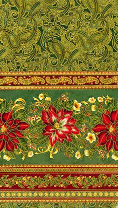 Holiday Flourish Wide - Luxurious Stripe - Dk Green/Gold