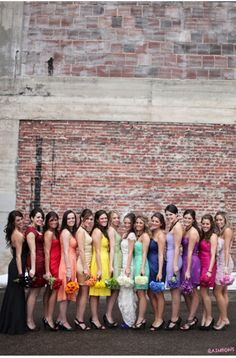 rainbow bridesmaids w/ different bouqets!!  The bride's dress could have little splashes of the same colors as her bridesmaids' dresses