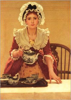 "My Cup Of Tea! ""Tea"" was painted in It depicts a very young woman in the dress of the She is about to serve tea from a blue willow tea set. George Dunlop Leslie – was an English genre painter, author and illustrator. Vintage Poster, Illustration, Chef D Oeuvre, Fine Art, St John's, Female Art, How To Look Pretty, Akita, Tea Time"