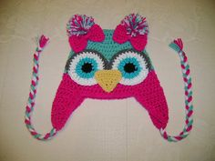 Bright Pink and Aqua Crocheted Owl Hat Available by BusterBrowns, $13.50