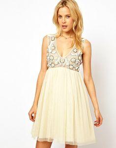ASOS Premium mesh skater dress with 3d floral embellishment found at Nudevotion.com