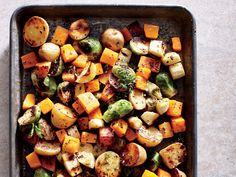 Sheet Pan Roasted Vegetables - A mix of colorful root vegetables may be your star side. Peeled, prechopped butternut squash saves time, but pieces tend to be irregular and small—we prefer peeling and cubing it yourself. Roasted Vegetable Recipes, Veggie Recipes, Vegetarian Recipes, Healthy Recipes, Vegetarian Grilling, Healthy Grilling, Fruit Recipes, Best Thanksgiving Side Dishes, Thanksgiving Recipes