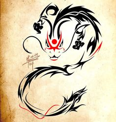 A badass tattoo art of a Chinese dragon in tribal style.