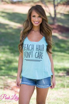 Beach Hair Don't Care Sea Blue Tank CLEARANCE