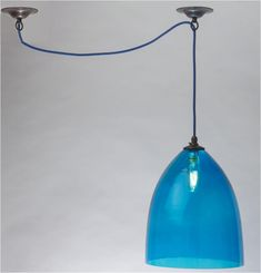 Hand Blown Bell Pendant with Sky Blue Glass, 10.5 inch Diameter