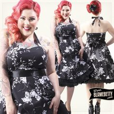 We love the desirable hour glass shape this floral dress creates! #blamebetty #vintagefloral #dress