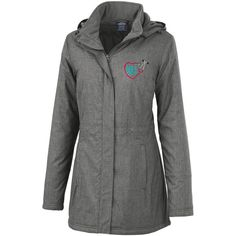 Heart Stethoscope Womens Journey Parca Womens Monogrammed Jacket... ($88) ❤ liked on Polyvore featuring outerwear, coats, black, women's clothing, parka coat, zip coat, quilted parka, quilted coat and checked coat