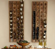French Wine Bottle Riddling Rack: Create an artful array of empty bottles – fine vintages, beautiful labels and bottles just too beautiful to throw away. Wine Glass Shelf, Wine Glass Rack, Glass Shelves, Wine Wall, Riddling Rack, Wine In The Woods, Rustic Wine Racks, Vintage Wine Rack, Empty Wine Bottles