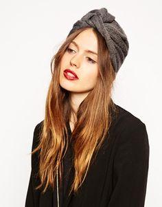 Image 1 ofASOS Fine Rib Knitted Turban Hat
