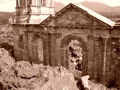 the ruins of the Paricutin volcano, new Uruapan, Mexico