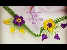 Üç Yaprak Bir Fıstık Tığ Oyası Yapımı - YouTube Crochet Flower Tutorial, Crochet Flowers, Baby Knitting Patterns, Creative Embroidery, Hand Embroidery, Knitted Shawls, Knitted Poncho, Needle Lace, Knitting Socks