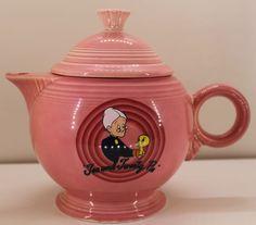 "Looney Tunes Fiestaware Teapot Tea and Tweety Pie Granny Bird Pink 1994 7 1 2"" | eBay $49.99"