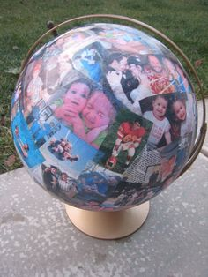 recycled globe with family photos  byjen.com/022/02/my-husbands-world.html