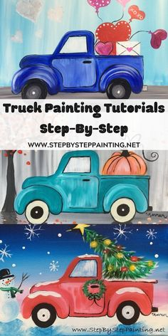 Love Truck Painting – Step By Step Tutorial – With Pictures And Video Canvas Painting Tutorials, Easy Canvas Painting, Painting Lessons, Tole Painting, Diy Painting, Art Lessons, Painting & Drawing, Canvas Art, Matte Painting