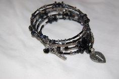 Black Memory Wire Bracelet by cbdjewelry on Etsy, $20.00