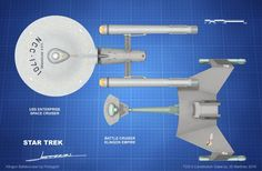 Recreating one of the the Comparison Drawings of the Starship Enterprise and the Klingon D-7 Battlecruiser by Walter Matt Jeffries. TOS.5 Constitution Class Model by Myself. TOS.5 Concept by Dougla...