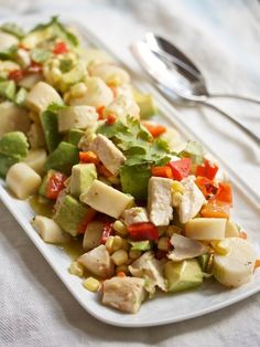 Chicken-Avocado Chop Chop Salad with Red Peppers, Corn, and Hearts of Palm