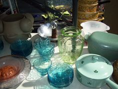 Old glassware for entertaining.  Hell's Kitchen Flea Market, NYC