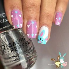 If you're looking for cute nail art designs for Easter, you're in the right place! Our collection of 32 Easter nail designs will certainly inspire you and stimulate your creativity. Your nails shouldn't be ignored this year. Cute Nail Art Designs, Easter Nail Designs, Easter Nail Art, Nail Designs Spring, Pedicure Designs, Nail Art Halloween, Bunny Nails, American Nails, Glitter Manicure