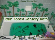Rain Forest Sensory Bath-  this fun bath really brings the jungle to life