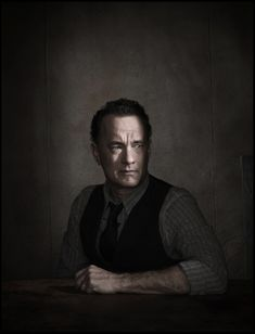 Tom Hanks by Dan Winters, male actor, celeb, movie star, powerful face, intense eyes, hand, shadow and light, portrait, photo