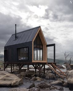 Cabin on rocks Cabin Design, Tiny House Design, Renovation Design, Modern Barn House, Tiny House Cabin, Eco Cabin, House On Stilts, Cabins And Cottages, Cabins In The Woods