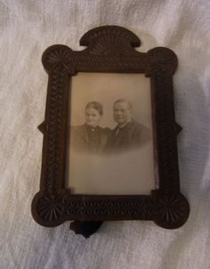 Antique German Tramp Art Picture Frame Wood  #BY