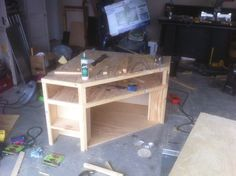 awesome corner entertainment center diy out of plywood just needs paint!