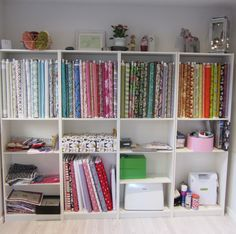 Beautifully organised bolts of fabric for my students to choose from when they attend workshops at my Garden Studio in Winchester, UK Garden Studio, Fabric Storage, Sewing Studio, Small Groups, Winchester, Bookcase, Workshop, Cushions, Shelves