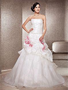 A-line Strapless Chapel Train Taffeta And Organza Wedding D... – USD $ 299.99