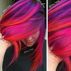 Purple pink red hair by Guy Tang