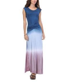 Another great find on #zulily! Navy & Pink Ombré Ruche Maxi Dress #zulilyfinds