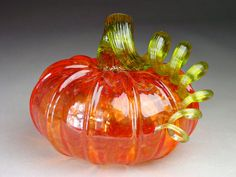 Hand Blown Glass Pumpkin Cherry Sparkle by dunnikerdesigns on Etsy, $45.00