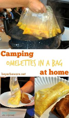 Whether you are camping or have a group to feed breakfast to at home this omelettes in a bag recipe is so easy and fast. Whether you are camping or have a group to feed breakfast to at home this omelettes in a bag recipe is so easy and fast. Diy Camping, Family Camping, Tent Camping, Outdoor Camping, Camping Outdoors, Camping Cooking, Camping Foods, Beach Camping, Camping Trailers