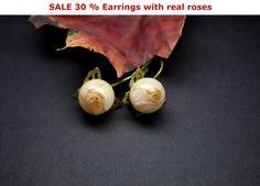 Earrings with real Rose, Resin earrings, dried flowers,Eelegant Epoxy flower, Botanical earrings,Nature Earrings, Valentines Day,Eco Jewelry by VITALIAart on Etsy
