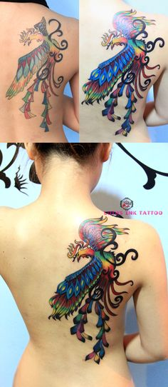 I hope when I get my phoenix tattoo redone, it'll look as good as this dones.  Pretty back phoenix #tattoo