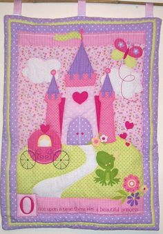 Princess Fairy Castle Quilted Wall Hanging by lilacelephant
