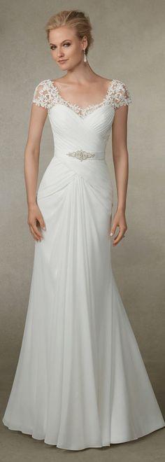 Elegant chiffon scoop neckline sheath wedding dress with beadings; It has an undetachable sash with shining beadings and rhinestones.