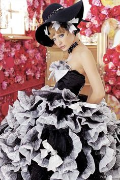 Bridal Black - black and white wedding dress - ruffles and fun.