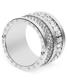 Michael Kors Ring, Silver-Tone Pave and Baguette Crystal Barrel Ring - Fashion Jewelry - Jewelry & Watches - Macy's