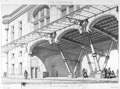 Viollet-le Duc / project for Hôtel de ville - cast iron structure, c. 1865