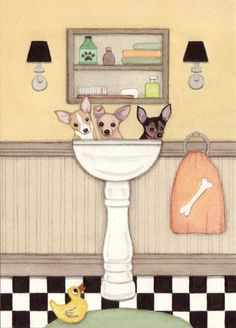 Chihuahuas fill a sink at bath time / Lynch by watercolorqueen, $12.99
