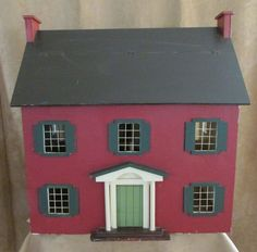 Vintage Handmade Dollhouse Folk Art Red Saltbox Colonial Signed Parkinson wood #handmade