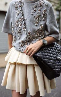 embellished sweatshirt. ruffle skirt. street style.