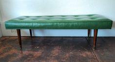 Mid Century Green Vinyl Bench by junk2funkbiz on Etsy, $235.00